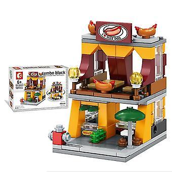 City street hot dog store blocs de construction modèle de jouets pour enfants mini cadeau, copoz az6839