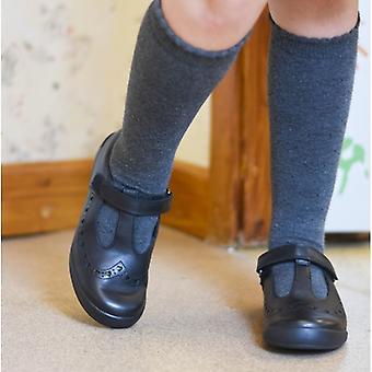 Start-Rite Leap Frog Girls Leather T-bar School Shoes Black