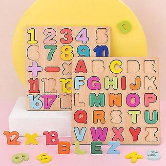 3D pussel träbräda med färgglada alfabet nummer barn tidig pedagogisk upptagen brädleksak matchning