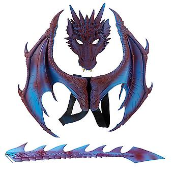 Dzieci Dragon Wing Costume Dinosaur Tail Mask Zestaw do Halloween Party Cosplay