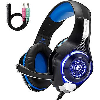 Cuffie da gioco per PS4 PS5 Xbox One, comfort noise reduction Crystal Clarity 3.5mm LED Professional Headphone con microfono per PC Laptop Tablet Mac Smart Phone(Blu)
