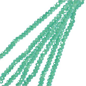 Crystal Beads, Faceted Rondelle 1.5x2.5mm, 2 Strands, Opaque Turquoise Green