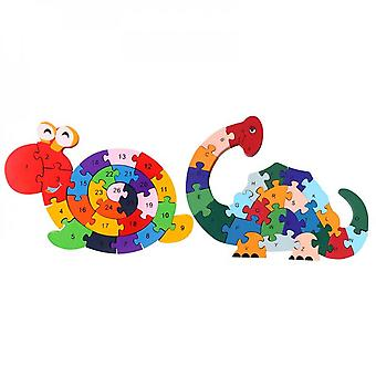 2pcs Wooden Puzzles, Alphabet Jigsaw Puzzle Building Blocks Animal Wooden Snail Dinosaur Letters Numbers Block Toys For Children Toddlers.