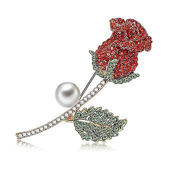 Corsage rózsa lány bross strasszos intarziás cinkötvözet bross csap