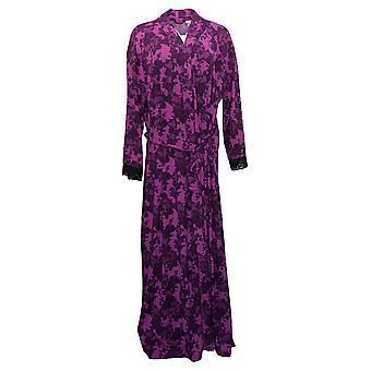 Rhonda Shear Women's Plus Printed Knit Tie-Front Long Robe Purple 746383