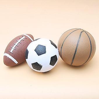 3pcs / set Toy Balls (1 baloncesto + 1 fútbol + 1 pelota de rugby) Juguetes de goma de seguridad Juego deportivo Niños
