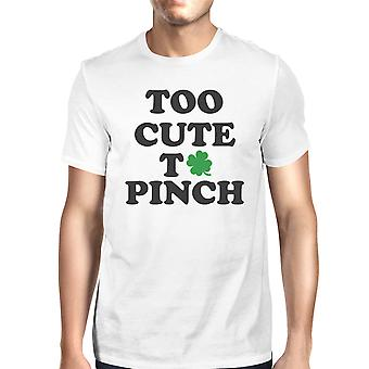 Too Cute To Pinch Men's White T-shirt Round-Neck Patrick's Day Tee