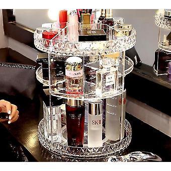 360 Graders premiumrotabel transparent kosmetika och makeup lagringsarrangör