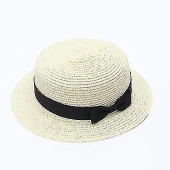 Womens panama summer beach hat(56-58cm)(Milk White 1)