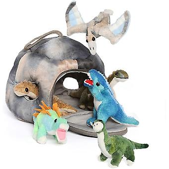Muhkeat dinosaurukset täytetty dinosaurus talo asetettu lelu lahja pojille ja tytöille, 7,8 tuumaa