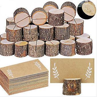 Stand de nom de photo de table de mariage de porte-carte en bois de 20pcs