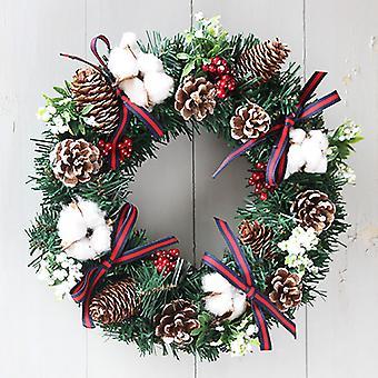 Evago 30cm/40cm kunstig julekrans flokket med blandede dekorasjoner