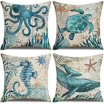 Packung mit 4 Kissenbezügen, Schildkröten Seepferdchen Wale Oktopus Muster 18x18 Zoll
