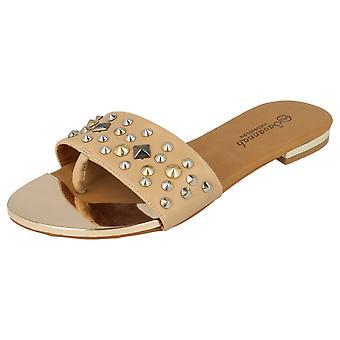 Ladies Savannah Toe Post Sandals With Studded Bar Strap