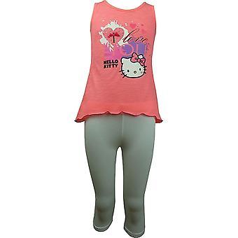 Dziewczyn Hello Kitty Koszulka bez rękawów / Top i 3/4 legginsy Set