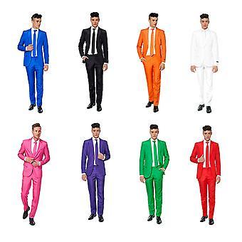 Costume solide avec veste pantalon cravate Suitmeister slimline ensemble 3 morceaux d'économie