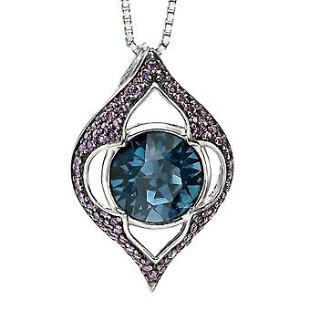 925 Silver Plated Ruthenium Swarovski Crystal And Zirconium Necklace