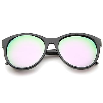 Frauen Horn umrandeten Farbe Spiegel-Objektiv überdimensioniert Cat Eye Sonnenbrille 58mm