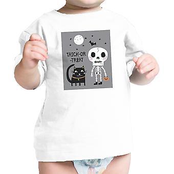 Скелет черный кот младенческой графический теэ рубашку ребенка Хеллоуин костюм