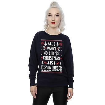 Justin Bieber Women's All I Want For Christmas Sweatshirt