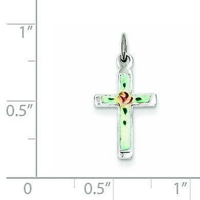 925 Sterling Silver Solid Polished back Enameled Religious Faith Cross Pendant Necklace Jewelry Gifts for Women