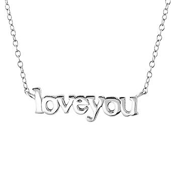 Love You Inline - 925 Sterling Silver Plain Necklaces - W22370X
