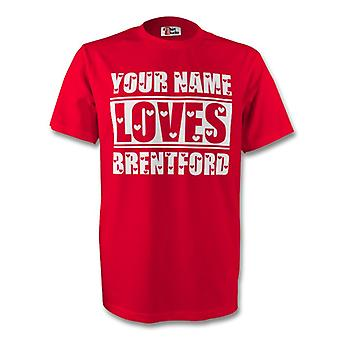 Ditt namn älskar Brentford T-shirt (röd)
