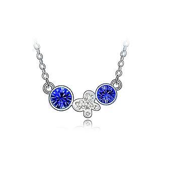 Naisten hopea kaulakoru tumma sininen pudota ketjun kukka perhonen viehätys koruja