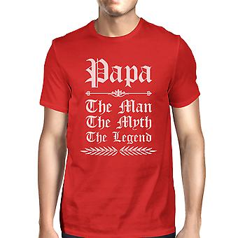Vintage Gothic Papa Mens Red Graphic Dads T T-Shirt For Happy Family