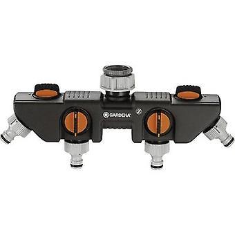 GARDENA 8194-20 4-Wege-Splitter-Schlauchstecker, 26,44 mm (3/4) OT, 33,25 mm (1) OT mit Druckregler