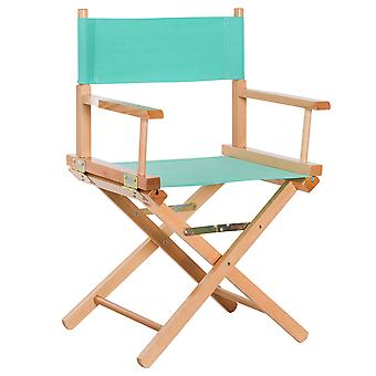 HOMCOM Beech Wooden Folding Director Chair Oxford Fabric Seat for Garden Indoor & Outdoor - Green