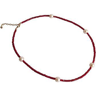 Рубиново красный ожерелье позолоченный Перл рубином и 9 мм жемчужное ожерелье