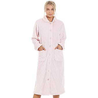 Camille Womens Supersoft Light Pink Button Front Diamond Print Housecoat