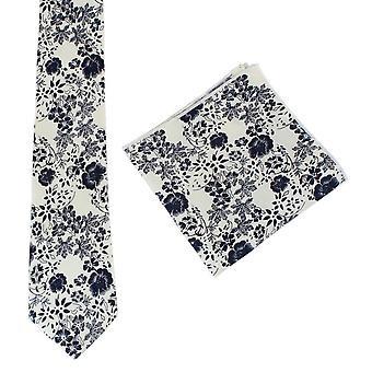 Kwiatowy krawat krawaty Knightsbridge i placu kieszeni zestaw - krem/Navy