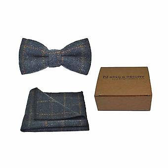 Heritage Check Navy Blue Bow Tie & Pocket Square Set - Tweed, Plaid Country Look | Boxed