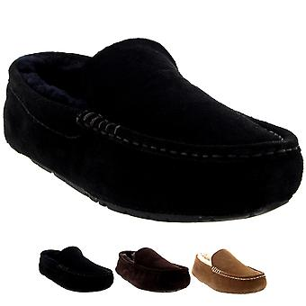 Mens Moccasins Australian Suede Sheepskin House Fur Loafers Shoes Slippers 6-14