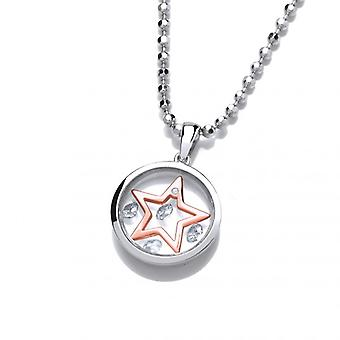 """Cavendish French Celestial Silver and Rose Gold Mini Shooting Star Pendant with 18-20"""" silver chain"""