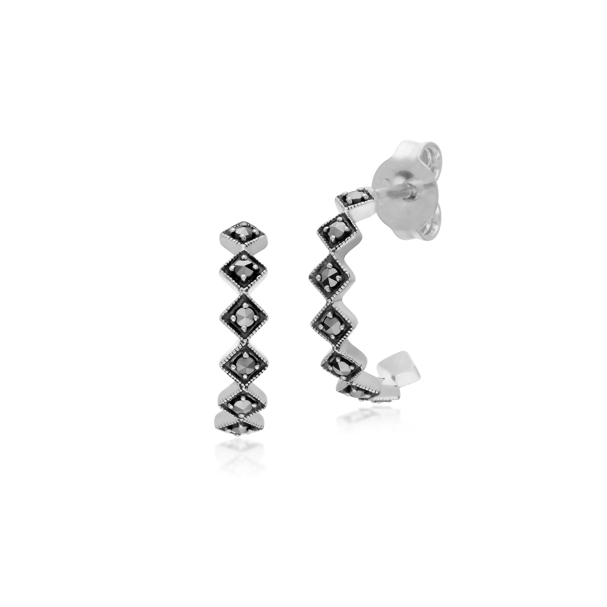 Gemondo Sterling Silver Marcasite Square Half Hoop Stud Earrings