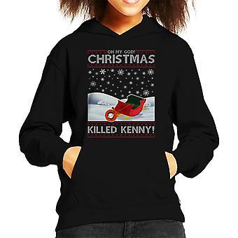 South Park Oh My God Christmas Killed Kenny Knit Pattern Kid's Hooded Sweatshirt