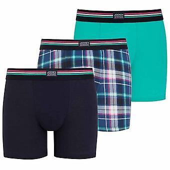 Jockey Cotton Stretch 3-Pack Boxer Trunk, Aqua Green/Check/Blue, Large