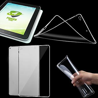 Protective cover silicone transparent cover for NEW Apple iPad 9.7 2017 + tempered glass