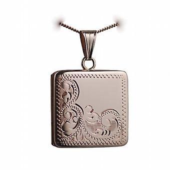 9ct handgravierte Rose Gold 22mm halbe quadratische Medaillon mit einem Bordstein Kette 16 Zoll nur geeignet für Kinder