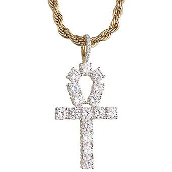 Iced out bling Ankh hanger - cubic zirconia cross goud