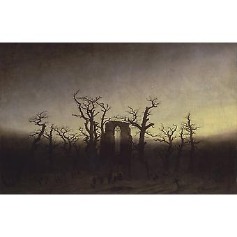 Abbey under Oak Trees, Caspar David Friedrich, 60x38cm