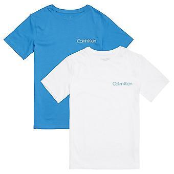 Calvin Klein Boys 2 Pack Modern Cotton Short Sleeved Crew Neck T-Shirt, White / Blue, X-Large