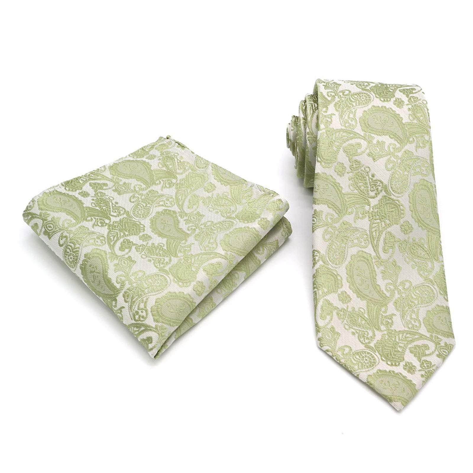 Golden moss green paisley event necktie & pocket square