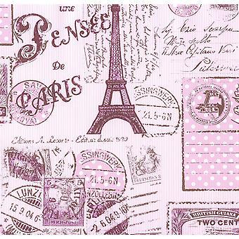 Paris Stamp Collage Stripe Wallpaper Girls Pink Brown Eiffel Tower Textured