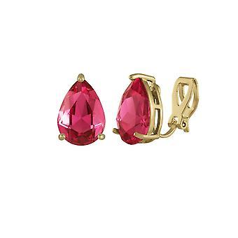 Eeuwige collectie verleiding Teardrop Deep Rose roze Crystal Gold Tone Stud Clip op oorbellen