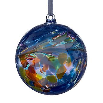 Sienna Glass 10cm Friendship Ball, Primary Blue