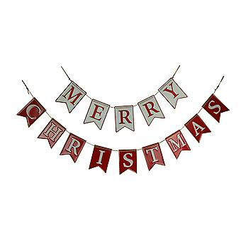 Red and White Enamel Metal Merry Christmas Garland Holiday Decor 2 Piece Set